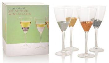 Set of Four Mixed Metallic Wine Glasses