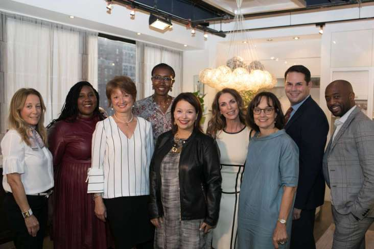 The 2018 Art of the Table Designers with Linh Calhoun, SVP, Chief Marketing Officer, Replacements, Ltd.; Krissa Rossbund, Senior Style Editor, Traditional Home; and Regina Bilotta, Partner, Bilotta Kitchens
