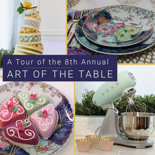 Images from the 2018 Art of the Table - cakes and pastries, floral china, and a mint green Smeg stand mixer