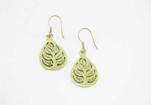 Earrings Recycled Brass – Buddha Leaf