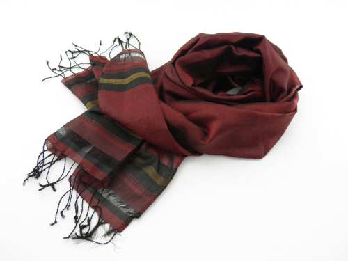 Fair Trade Essential Scarf - Striped Black-Gold - Burgundy