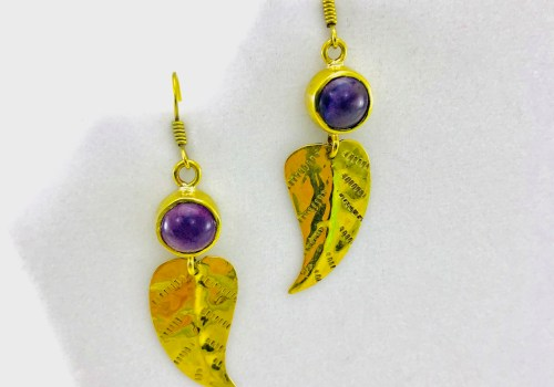 Leaf Earrings And Natural Stone - Mauve