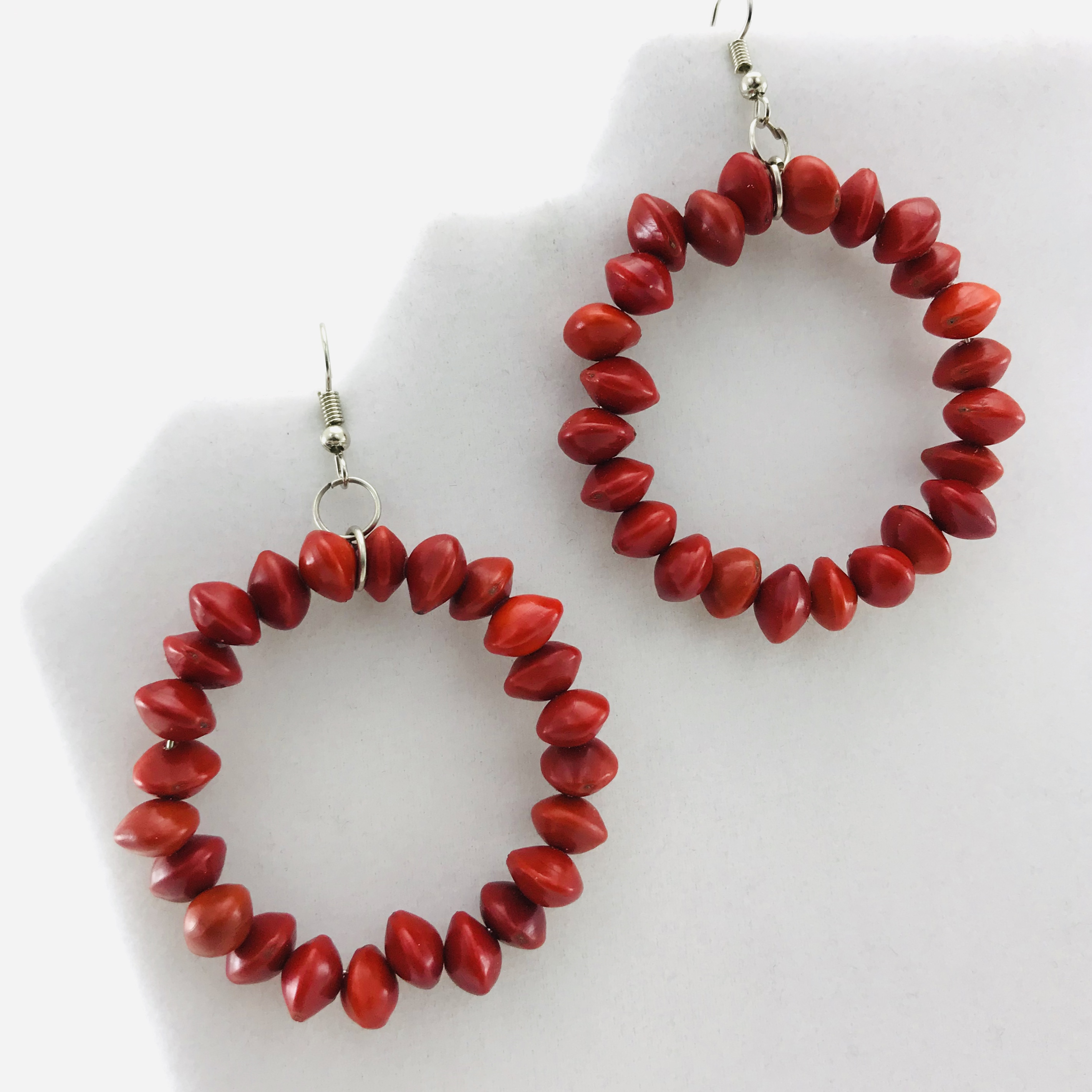 Les Boucles d'oreilles - Cercle - Rouge
