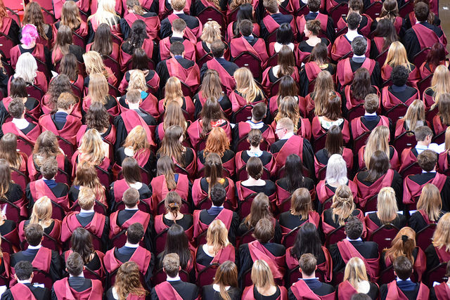 Crowd of student graduating