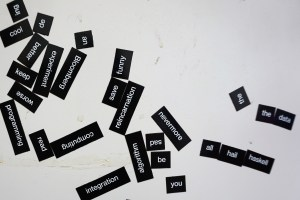 Magnetic words on wall