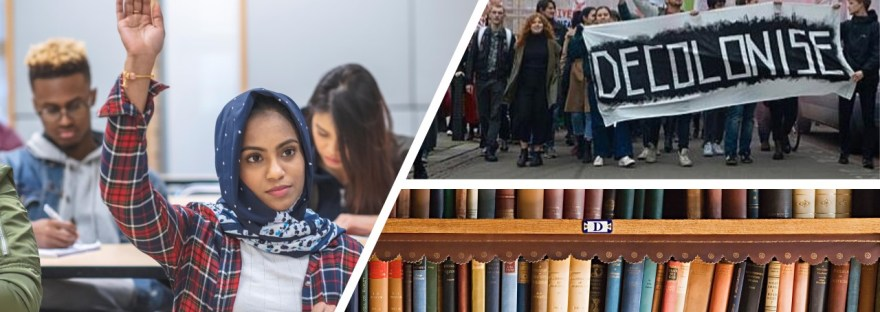 3 part image showing students, one with raised hand; inset image of Bristol decolonise protesters; inset book shelves