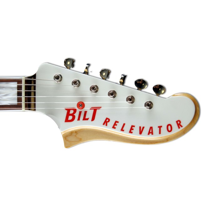 Headstock, JHS Olympic White, Red Accents Relevator LS