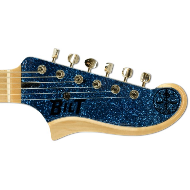Blue Sparkle MERC, Headstock