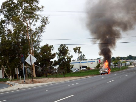 Burning car on the way to San Diego