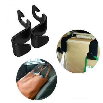 2x Auto Haken für KFZ Kopfstütze, Autositz Halterung für Kleiderbügel oder Einkaufstüten in schwarz