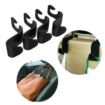 4x Auto Haken für KFZ Kopfstütze, Autositz Halterung für Kleiderbügel oder Einkaufstüten in schwarz