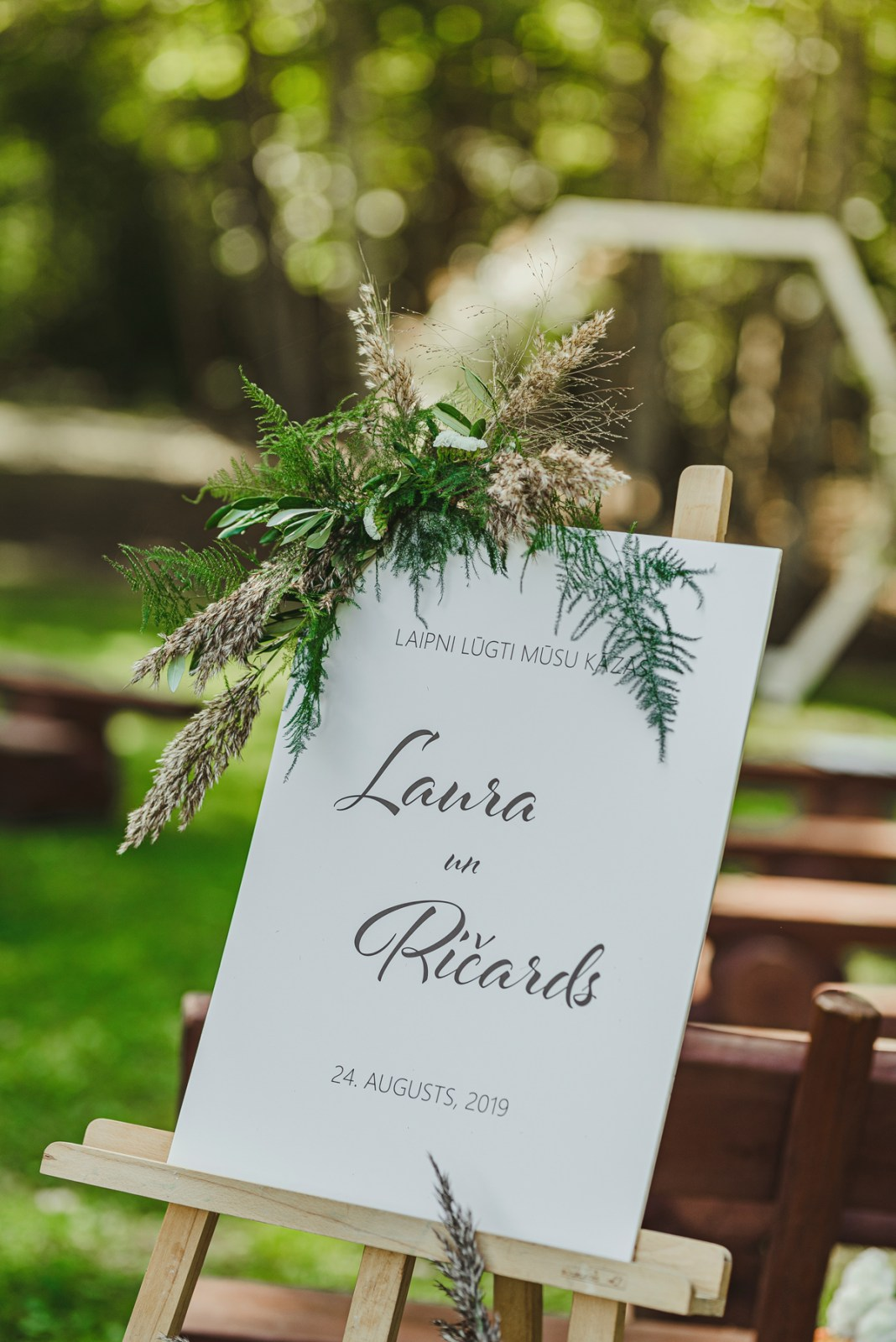 outdoors floral decor wedding ceremony