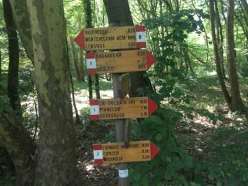 indicazioni per percorsi di escursione parco del Curone e Montevecchia