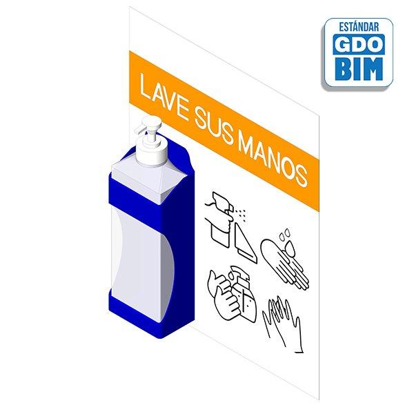 Dispensador de pared con cartel - Gel antibacteriano