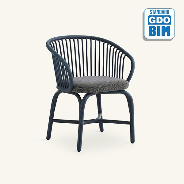 Huma - dining armchair with rattan legs