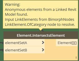 Dynamo BIM Package Element.IntersectsElement non-LinkElement Exception BimorphNodes v2.2