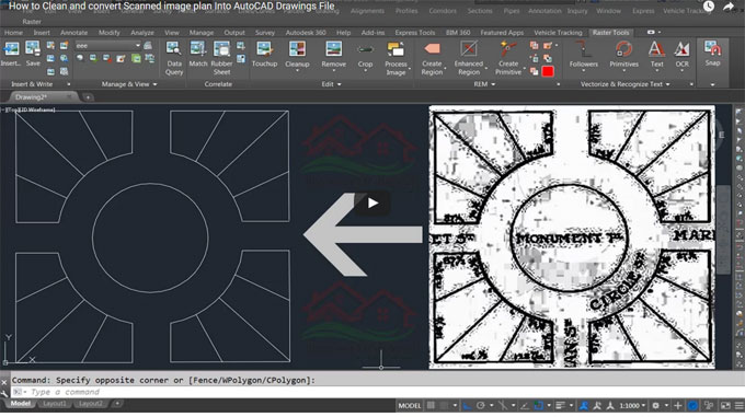 How to use AutoCAD raster design software to clean & transform any scanned image into .dwg file
