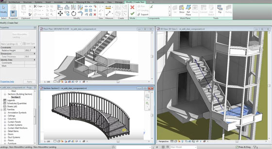 Create stairs by component in Revit Architecture 2018