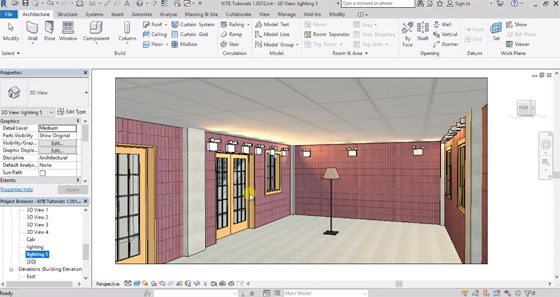 Learn to add light & lighting effect in Revit Architecture