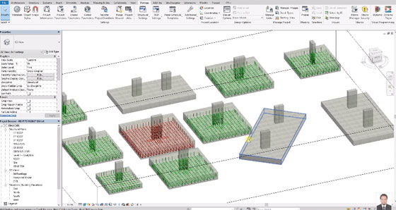 Reinforcement modeling in combined footing with Revit