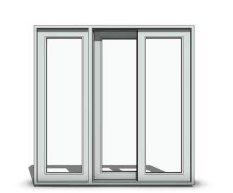 sliding 3 panel o x o wide stile door