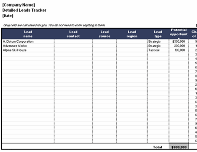 Use salesflare's free crm template for excel. Detailed Leads Tracking