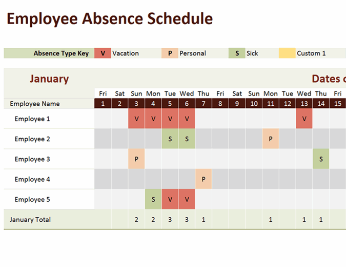It is difficult to remember each and every minute detail of when an employee takes off from work or the purpose of time off and the task becomes. Employee Absence Schedule