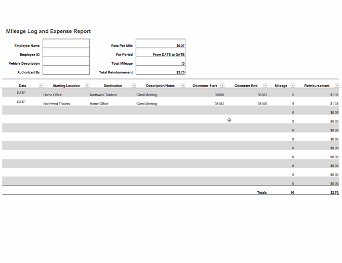 This is an accessible template. Mileage Log And Expense Report