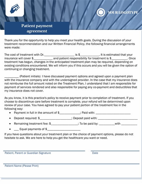 Schedule your payment to be automatically charged. Patient Payment Agreement Healthcare