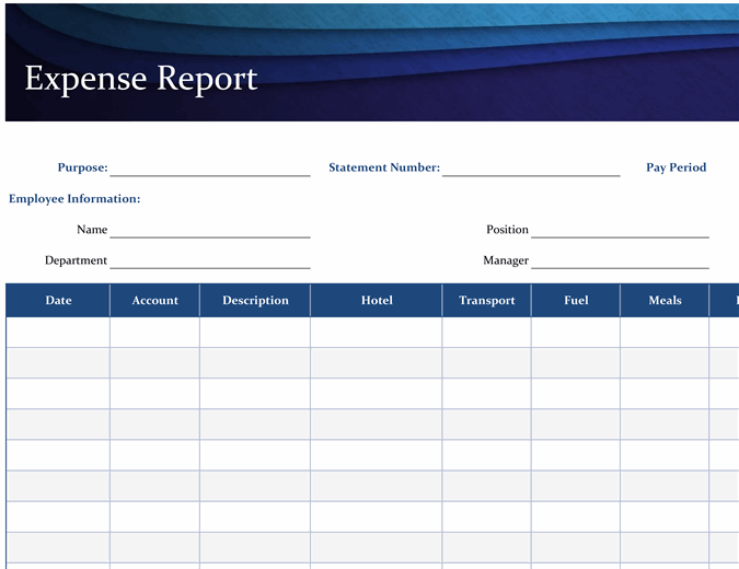 Travel expenses are one of the most common expense report types, so it's no wonder they head the list regarding top templates. Blue Expense Report