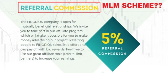 Finorion referral commission