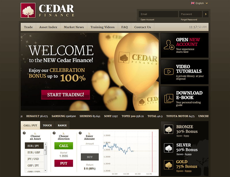 Cedar binary trading review