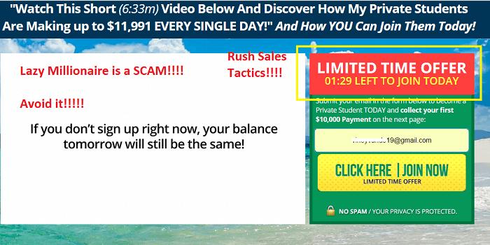 lazy millionaire scam