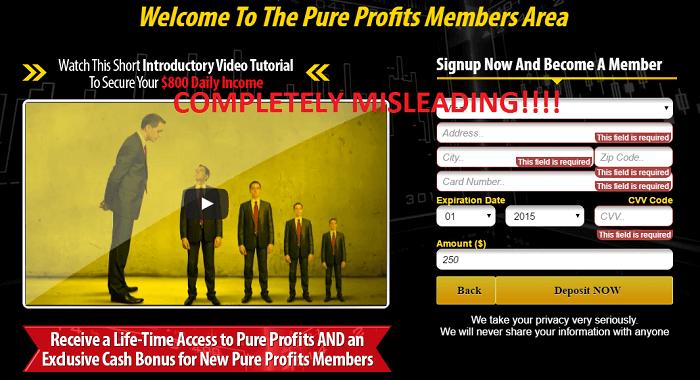 pure profits fake testimonials