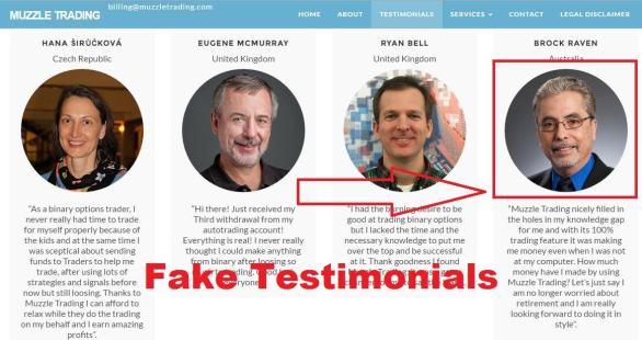 muzzle trading fake testimonials
