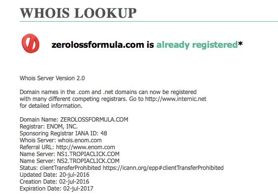 registration date zero loss formula scam