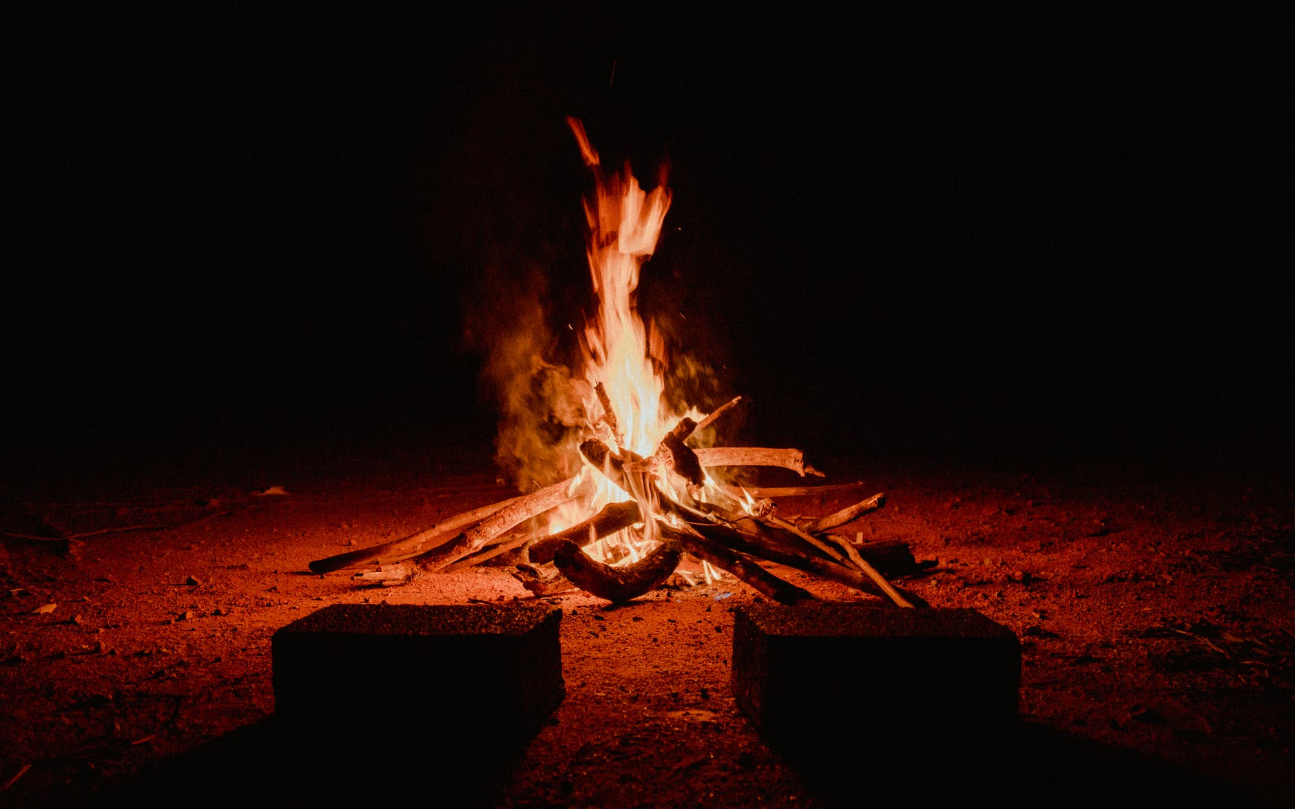 outdoor fireplace during nighttime