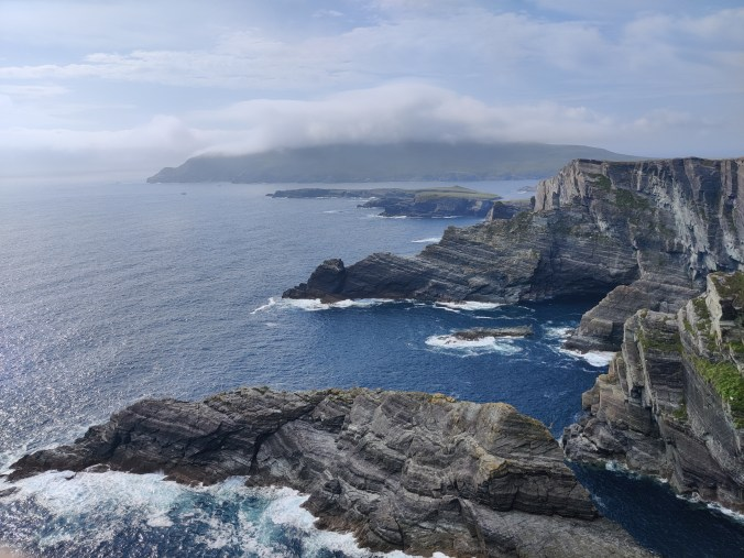 View of the Kerry cliffs and the sea