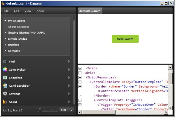 Quick way to edit and preview XAML Snippets using Kaxaml ...