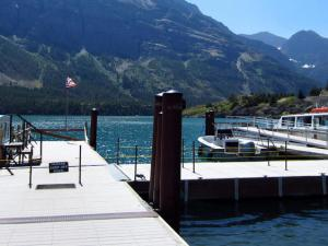 The Rising Sun Boat Tour travels scenic St. Mary Lake.