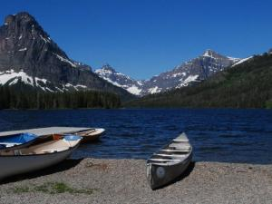 Rent boats or take the tour boat at Two Medicine Lake.