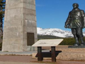 A statue at Marias Pass commemorates its discoverer John Stevens.