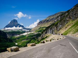 East side of Going-to-the-Sun Road leading up to Logan Pass and Clements Peak.