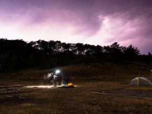 Lightning illuminates St. Mary Campground.