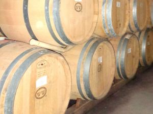 The barrel room is part of the winery tour.