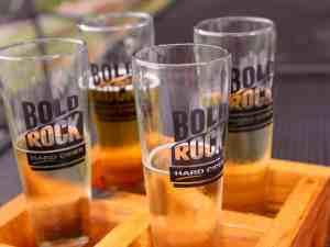 A tasting flight of Bold Rock cider