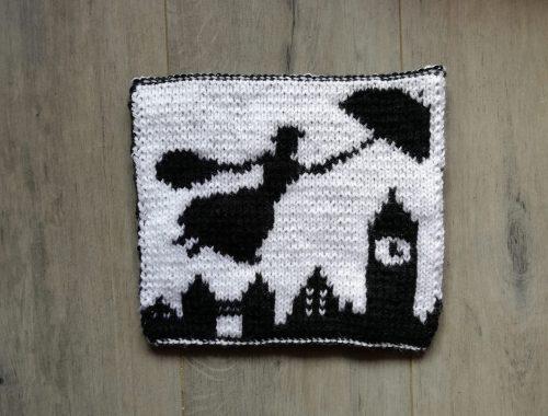 Carré de couverture Mary Poppins au tricot