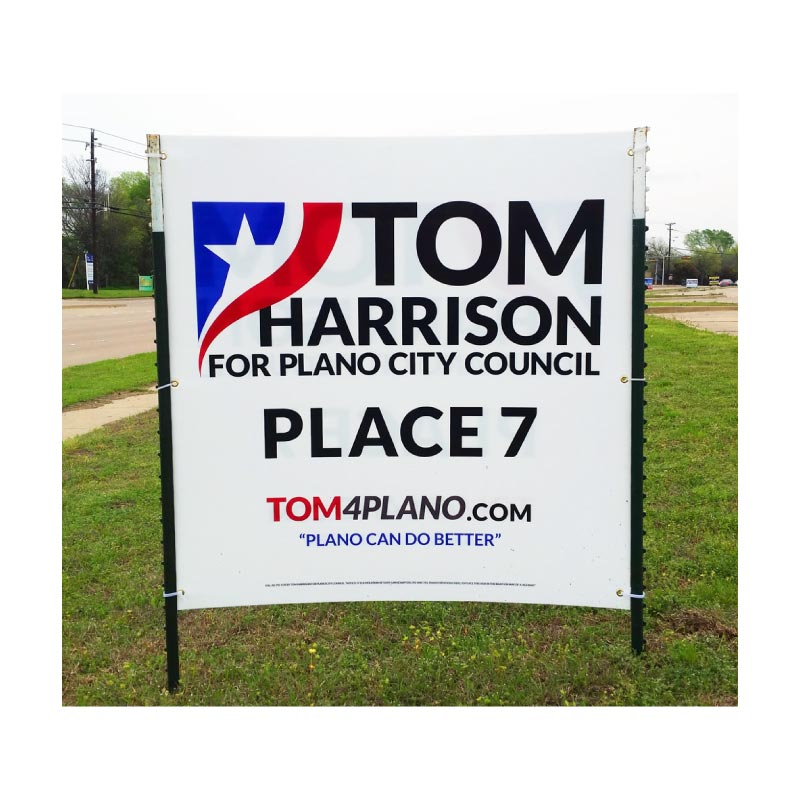 Tom Harrison Street Sign Design for Plano City Council Race