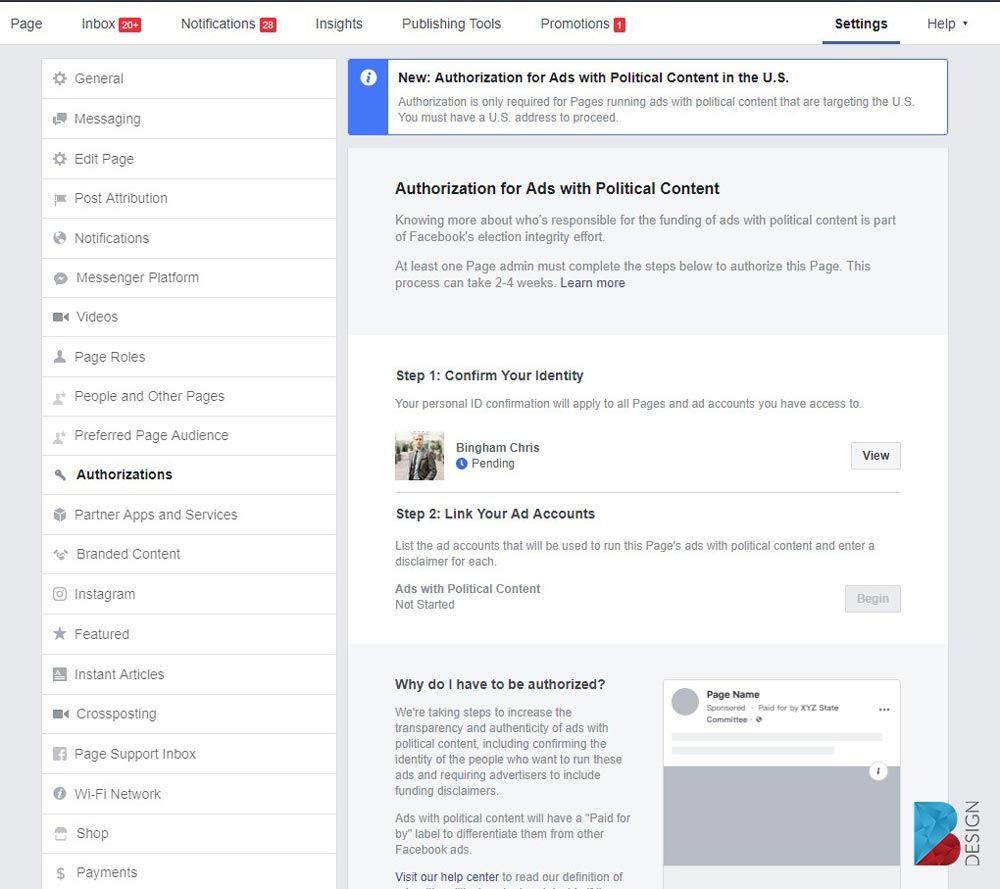 Pending Authorization process for Facebook ads