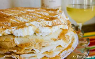 Pumpkin Crepe Cake paired with Bingham 2018 Viognier